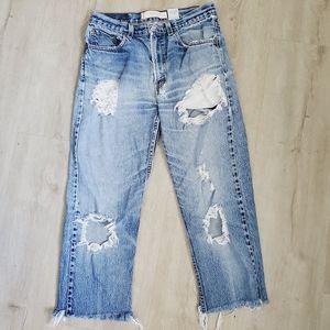 Vintage Levi's 505 Straight Leg Mom Cropped Jeans